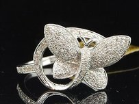 10k Ladies White Gold Diamond Engagement Ring Butterfly Fashion Style Wedding