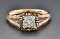 Solitaire Diamond Engagement Ring Square Halo Round Cut 14k Rose Gold 0.37 Ct