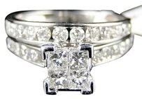 Other 1.5 Ct Womens White Gold Diamond Princess Cut Engagement Wedding Ring Bridal Set
