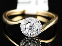 14k Womens Yellow Gold Diamond Round Cut Solitaire Engagement Anniversary Ring