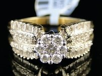 Ladies Flower Bridal Engagement Diamond Ring .83 Ct