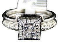 14k White Gold Diamond Princess Cut Engagement Wedding Ring Band Bridal Set