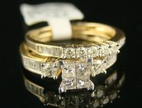 14k Ladies Princess Bridal Engagement Diamond Ring 1.0