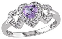 Other 10k White Gold 18 Ct Diamond And 38 Ct Amethyst 3 Heart Love Ring Gh I2i3