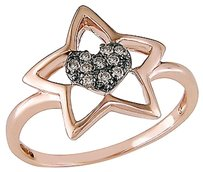 Other 14k Pink Gold 110 Ct Brown Diamond Star Heart Love Solitaire With Accents Ring