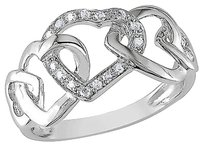 Other 10k White Gold Diamond Interlocking Heart Love Solitaire Ring Gh I2i3