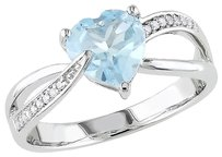 Other 10k White Gold Diamond And 1 13 Ct Sky Blue Topaz Crossover Heart Ring Gh I2i3