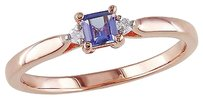 Pink Sterling Silver 0.34 Ct Tw Diamond And Tanzanite Solitare Ring Gh I2i3