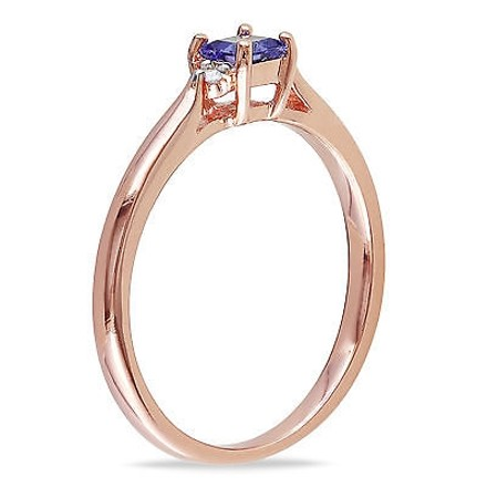 Other Pink Sterling Silver 0.34 Ct Tw Diamond And Tanzanite Solitare Ring Gh I2i3