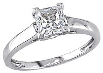 10k White Gold 1.07 Ct Tgw White Sapphire Solitaire With Accent Ring