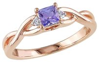 Other Pink Sterling Silver Diamond 13 Ct Tanzanite Crossover Ring Gh I2-i3