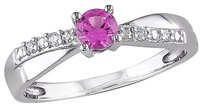 Other Sterling Silver Diamond And 13 Ct Tgw Pink Sapphire Crossover Ring Gh I2-i3