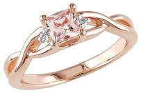 Sterling Silver Diamond 13 Ct Morganite Crossover 3-stone Ring Pink Gh I2-i3