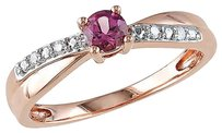 Other Sterling Silver Diamond 15 Ct Pink Tourmaline Crossover Ring Pink Gh I2-i3