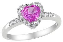 Sterling Silver 110 Ct Diamond Tw And 1 Ct Created Pink Sapphire Heart Love I3