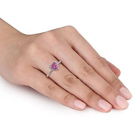 Other Sterling Silver 110 Ct Diamond Tw And 1 Ct Created Pink Sapphire Heart Love I3
