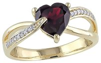 10k Yellow Gold Diamond And 1 38 Ct Garnet Fashion Crossover Heart Love Ring