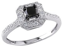 Other 10k White Gold 35 Ct Black White Princess Round Diamonds Solitaire Ring 925