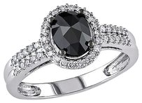 14k White Gold 1 Ct Black And White Oval And Round Diamonds Fashion Ring