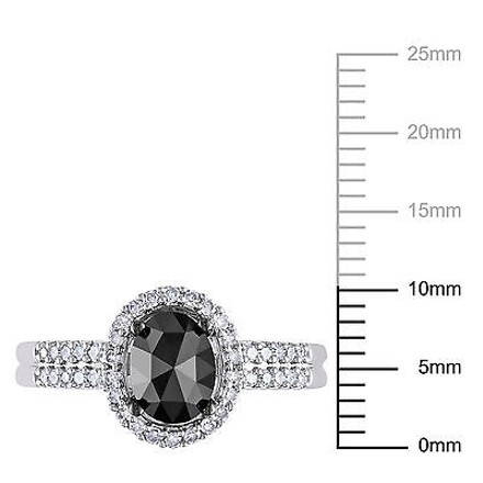 Other 14k White Gold 1 Ct Black And White Oval And Round Diamonds Fashion Ring