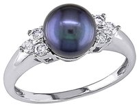 Other 14k White Gold 15 Ct Diamond 7 - 7.5 Mm Black Freshwater Pearl Ring Gh I1-i2