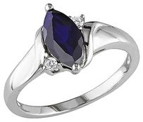 Other Sterling Silver Diamond And 2 110 Ct Tgw Blue Sapphire Fashion Ring Gh I3