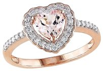 10k Pink Gold 15 Ct Diamond And 58 Ct Morganite Heart Love Ring Gh I1i2