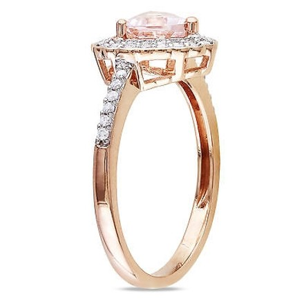 Other 10k Pink Gold 15 Ct Diamond And 58 Ct Morganite Heart Love Ring Gh I1i2