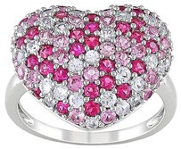 Sterling Silver 2 13 Ct Pink And White Sapphire Heart Ring