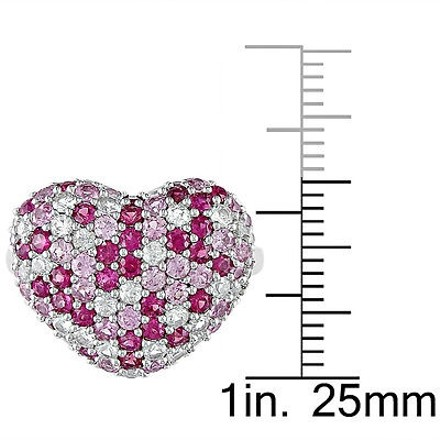 Other Sterling Silver 2 13 Ct Pink And White Sapphire Heart Ring