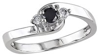 Sterling Silver 14 Ct Black And White Diamond Round Cut Fashion Ring 925
