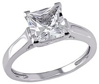 Other 10k White Gold 2 Ct Tgw White Sapphire Solitare With Accent Fashion Ring