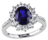 Sterling Silver 4.078 Ct Tw Diamond And Blue White Sapphire Cluster Ring