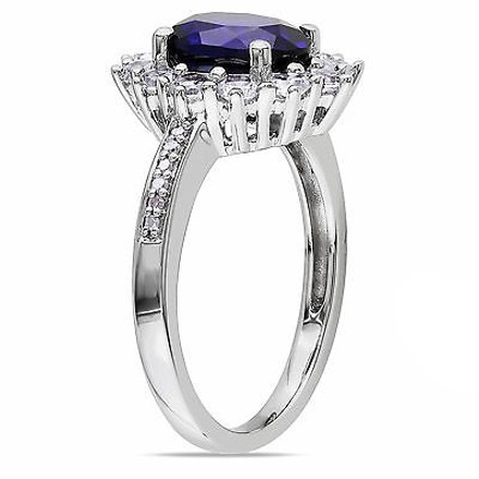 Other Sterling Silver 4.078 Ct Tw Diamond And Blue White Sapphire Cluster Ring