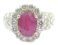 18kt Gem Ruby Diamond Yellow Gold Anniversary Jewelry Ring 4.12ct