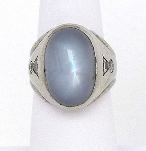 14k Wgold .60ctw Diamond 40ct Oval Star Sapphire Solitaire Waccent Unisex Ring