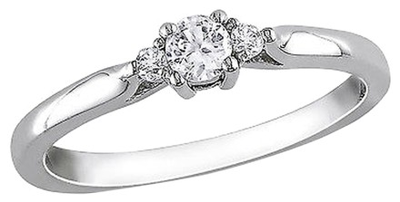Other Sterling Silver Diamond And 14 Ct White Sapphire Fashion Solitare Ring Gh I2i3