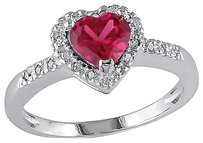 Other Sterling Silver 110 Ct Diamond Tw And 1 Ct Tgw Ruby Heart Love Ring I3