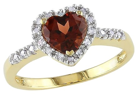 Other 10k Yellow Gold Garnet And 110 Ct Tdw Diamond Heart Ring G-h I2-i3