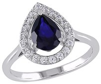 Sterling Silver 2 15 Ct Tgw Blue Sapphire White Sapphire Fashion Ring