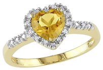 Other 10k Yellow Gold 110 Ct Diamond Tw And 34 Ct Tgw Citrine Heart Ring Gh I2i3