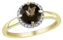 10k Yellow Gold Smokey Quartz And Diamond Accent Ring G-h I2