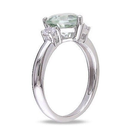 Other Sterling Silver 2 Ct Tgw Green Amethyst Created White Sapphire Heart Love Ring