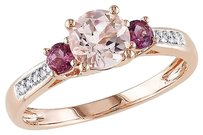 10k Pink Gold Diamond And 1 Ct Morganite Pink Tourmaline 3 Stone Ring Gh I1i2