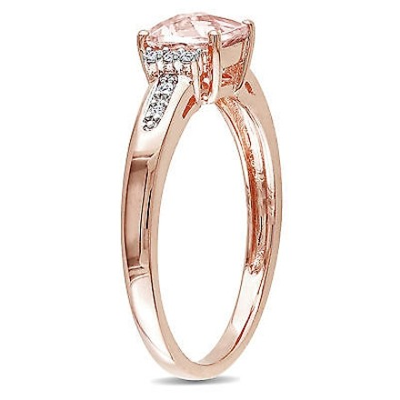 Other 10k Pink Gold Diamond And 1 Ct Tgw Morganite Fashion Ring Gh I2i3