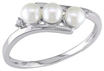 Other 10k White Gold Diamond 3.5 - 4 Mm White Freshwater Pearl Fashion Ring Gh I2i3