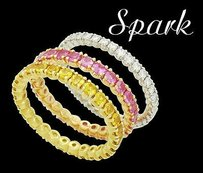 Spark 14k Gold Tcw Diamond Natural Pink Yellow Sapphire Stack Rings R461