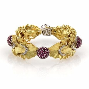 Spritzer Fuhrmann 8.06ct Ruby Diamonds 18k Gold Floral Leaf Bracelet