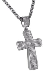Stainless Steel Cross Pendant Franco Necklace Simulated Diamonds Elegant