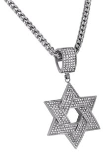 Other Star Of David Pendant Simulated Diamonds Franco Necklace Stainless Steel